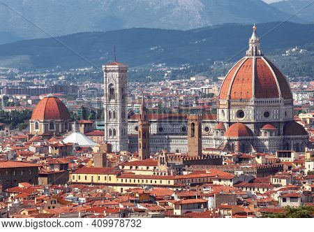 Incredible View Of The City Of Florence With The Cathedral With The Large Dome And Giotto's Bell Tow