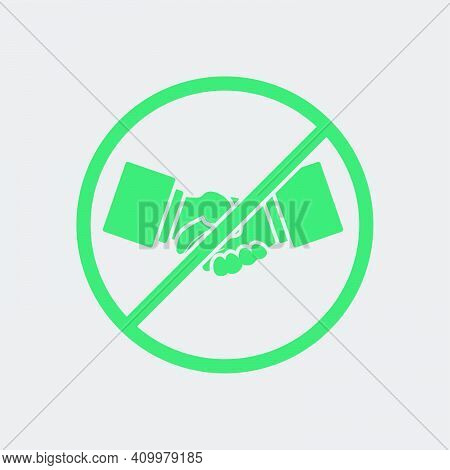 No Hand Shake Icon. Green On Gray Background. Vector Illustration.