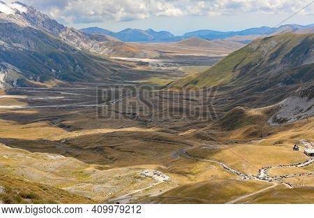 Immense Plain In The Abruzzo Region In Central Italy In Summer Seen From Above
