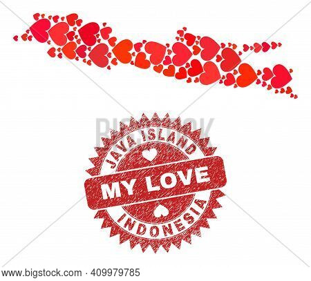 Vector Mosaic Java Island Map Of Love Heart Elements And Grunge My Love Seal. Mosaic Geographic Java