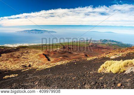 Desert Mountains, Canary Islands La Gomera And El Hierro In Sea From Pico Del Teide Mountain In El T