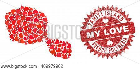 Vector Collage Tahiti Island Map Of Lovely Heart Elements And Grunge My Love Badge. Collage Geograph