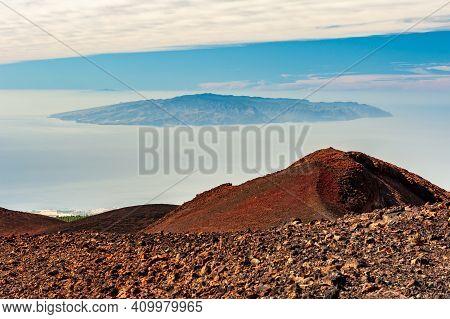 Desert Mountain, Canary Island La Gomera In Sea. Look From Pico Del Teide Mountain In El Teide Natio