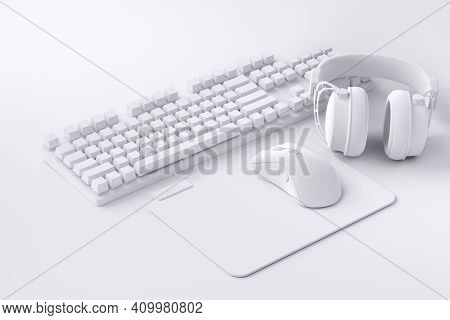 Top View Of Gamer Workspace And Gear Like Mouse, Keyboard, Joystick