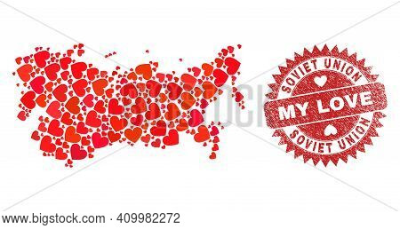 Vector Collage Soviet Union Map Of Love Heart Items And Grunge My Love Seal Stamp. Collage Geographi