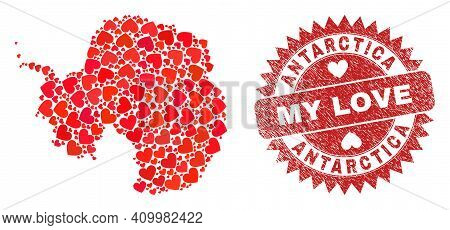 Vector Collage Antarctica Continent Map Of Valentine Heart Elements And Grunge My Love Badge. Collag