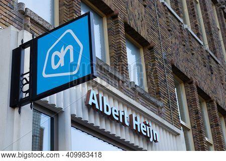 Utrecht, The Netherlands - 21 Jan, 2021: The Albert Heijn Sign And Logo. Albert Heijn Is The Largest