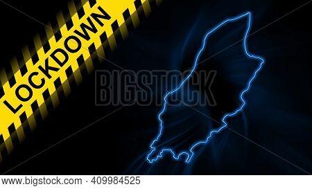 Lockdown Isle Of Man, Outline Map Coronavirus, Outbreak Quarantine, On Dark Background