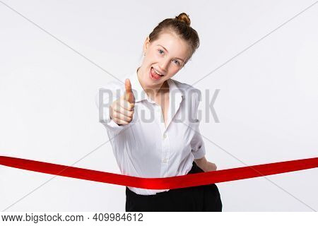 Complacent Blonde, Young Businesswoman Showing Thumb Up On Grand Opening. Cutting The Red Ribbon Cer