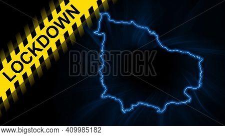 Lockdown Norfolk Island, Outline Map Coronavirus, Outbreak Quarantine, On Dark Background