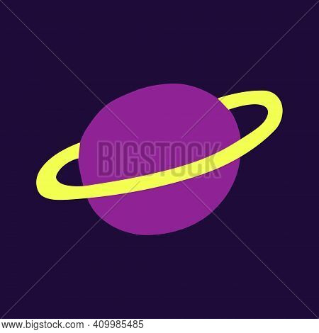 Planet With A Ring. Astronomical Or Celestial Objects. Heavenly Bodies In Space. Vector Hand Drawn I