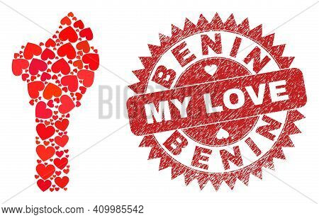 Vector Collage Benin Map Of Valentine Heart Elements And Grunge My Love Badge. Collage Geographic Be