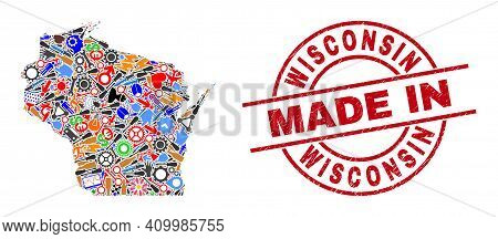 Service Wisconsin State Map Mosaic And Made In Grunge Rubber Stamp. Wisconsin State Map Collage Comp