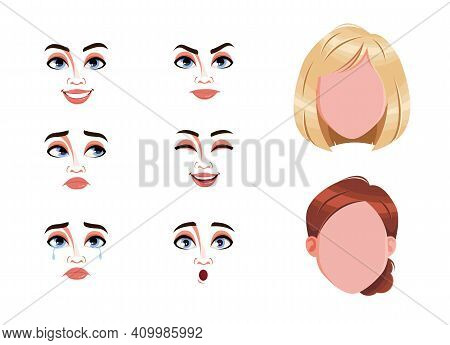 Different Female Emotions Set. Blank Faces And Expressions Of Woman With Brown And Blond Hair. Choos