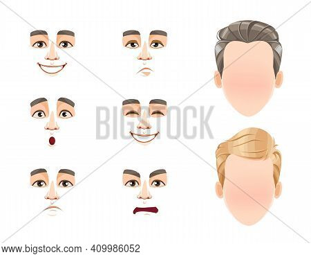 Different Male Emotions Set. Blank Faces And Expressions Of Man With Brown And Blond Hair. Choose Em
