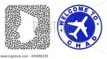 Vector Collage Chad Map Of Air Plane Elements And Grunge Welcome Seal Stamp. Collage Geographic Chad