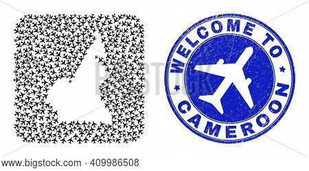 Vector Collage Cameroon Map Of Airliner Items And Grunge Welcome Seal. Collage Geographic Cameroon M