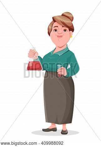 Stock Vector Happy Smiling Middle Aged Woman Teacher Chemist. Smiling Lady Teacher Cartoon Character