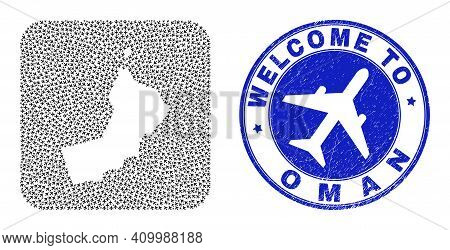 Vector Collage Oman Map Of Air Vehicle Elements And Grunge Welcome Stamp. Collage Geographic Oman Ma