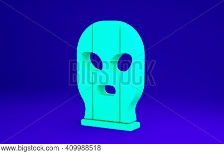 Green Mexican Wrestler Icon Isolated On Blue Background. Minimalism Concept. 3d Illustration 3d Rend