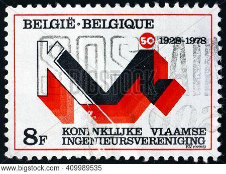 Belgium - Circa 1978: A Stamp Printed In Belgium Dedicated To Royal Flemish Engineers Organization,