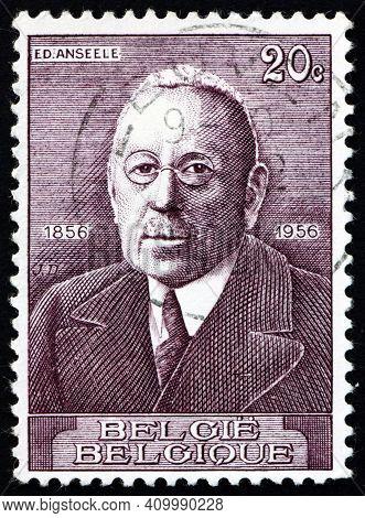 Belgium - Circa 1956: A Stamp Printed In Belgium Shows Edouard Anseele, Was A Belgian Socialist Poli