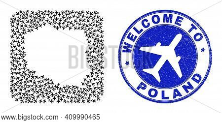 Vector Mosaic Poland Map Of Air Plane Items And Grunge Welcome Badge. Collage Geographic Poland Map