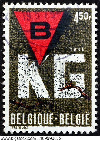Belgium - Circa 1975: A Stamp Printed In Belgium Dedicated To Liberation Of Concentration Camps, 30t