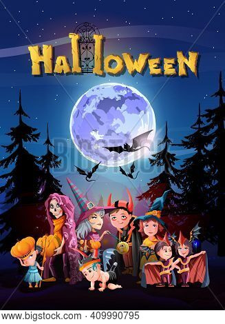 Halloween Greeting Banner With Halloween Night, Shining Moon, Night Stars And Children Dressed For H