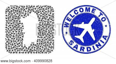 Vector Collage Sardinia Map Of Airport Elements And Grunge Welcome Seal Stamp. Collage Geographic Sa