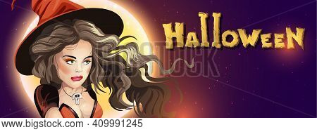Collection Halloween Horizontal Greeting Banner With Halloween Night, Shining Moon, Night Stars And