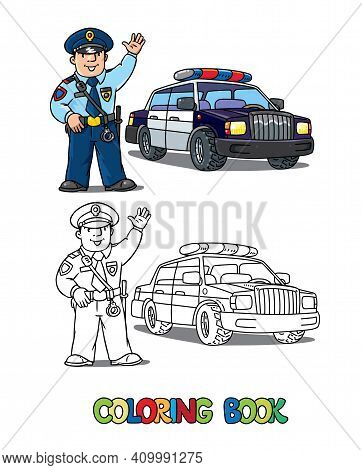 Police Car And Policeman In Uniform Waving By Hand. Coloring Book. Vector Character. Children Vector