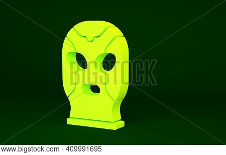 Yellow Mexican Wrestler Icon Isolated On Green Background. Minimalism Concept. 3d Illustration 3d Re