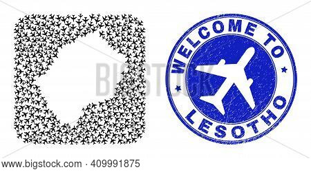 Vector Mosaic Lesotho Map Of Airline Items And Grunge Welcome Seal Stamp. Mosaic Geographic Lesotho