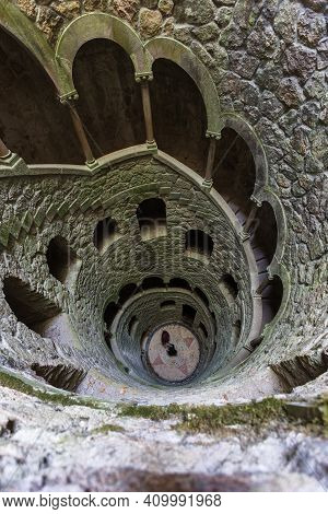 Sintra, Portugal - 28.10.2018: The Initiation Well Of Quinta Da Regaleira In Sintra, Portugal. It's