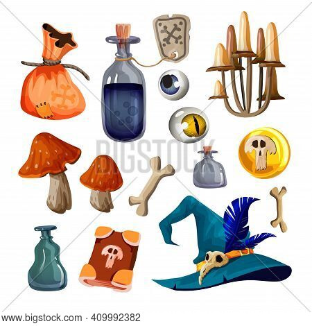 A Set Of Magical Witch Items. Hat, Staff, Flasks With Potion, Magic Bag, Folio, Mushrooms, Bones, Me