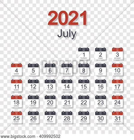 Monthly Calendar Template For July 2021 With Daily Date. On Transparent Background. Week Starts On S