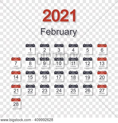 Monthly Calendar Template For February 2021 With Daily Date. On Transparent Background. Week Starts