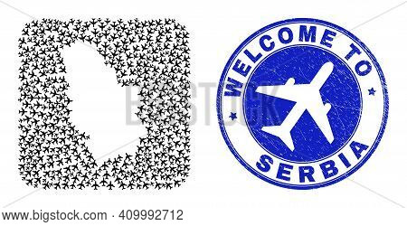 Vector Collage Serbia Map Of Airlines Elements And Grunge Welcome Seal. Collage Geographic Serbia Ma