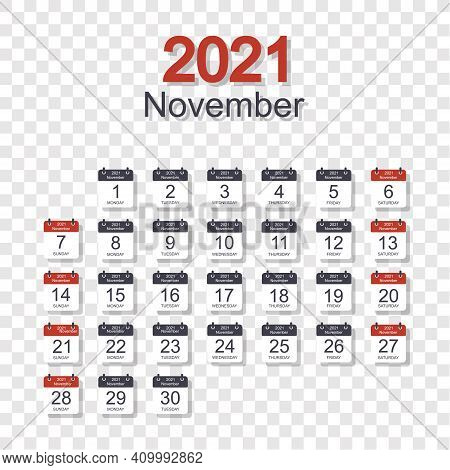 Monthly Calendar Template For November 2021 With Daily Date. On Transparent Background. Week Starts