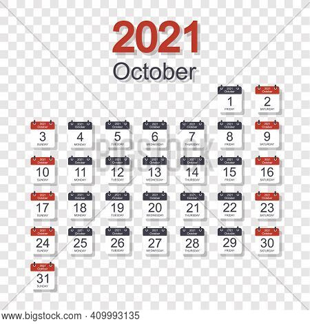 Monthly Calendar Template For October 2021 With Daily Date. On Transparent Background. Week Starts O