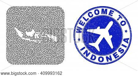 Vector Collage Indonesia Map Of Air Flight Items And Grunge Welcome Seal Stamp. Collage Geographic I