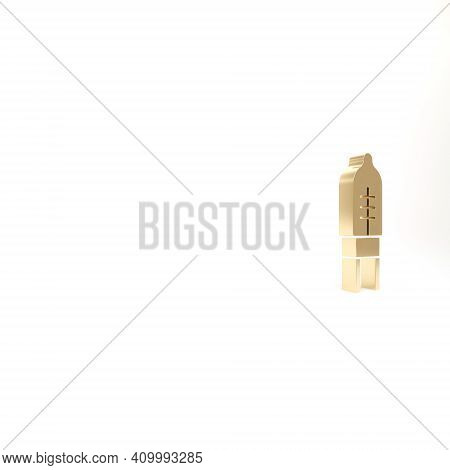 Gold Light Emitting Diode Icon Isolated On White Background. Semiconductor Diode Electrical Componen
