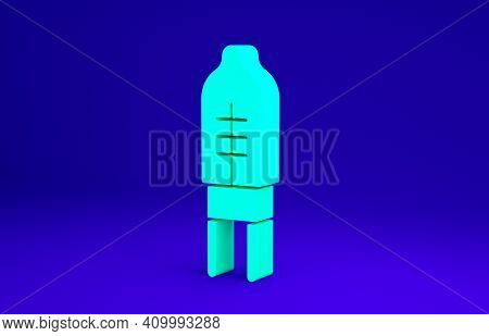 Green Light Emitting Diode Icon Isolated On Blue Background. Semiconductor Diode Electrical Componen