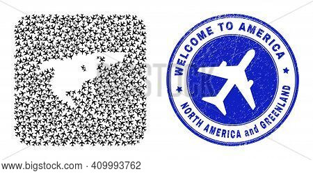 Vector Collage North America And Greenland Map Of Airlines Items And Grunge Welcome Seal Stamp.