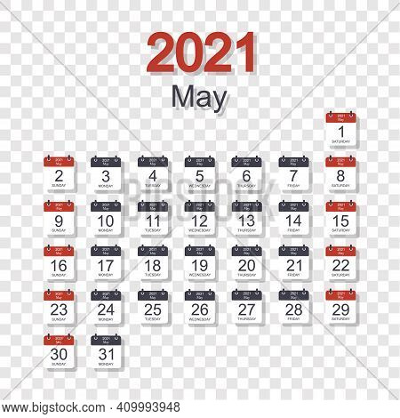 Monthly Calendar Template For May 2021 With Daily Date. On Transparent Background. Week Starts On Su