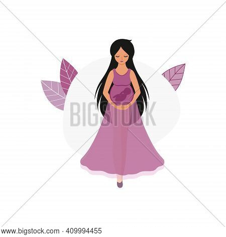 A Beautiful Pregnant Girl In A Dress Hugs Her Stomach And Holds A Small Child In Her Arms. Drawing O