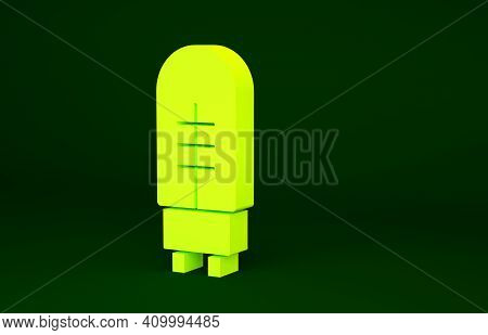 Yellow Light Emitting Diode Icon Isolated On Green Background. Semiconductor Diode Electrical Compon