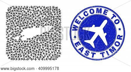 Vector Collage East Timor Map Of Air Vehicle Elements And Grunge Welcome Stamp. Mosaic Geographic Ea