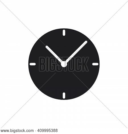 Clock Icon. Flat Solid Style Vector Illustration. Filled Pictogram Isolated Sign Symbol